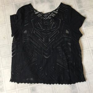 Express black lace top solid sleeves pretty!